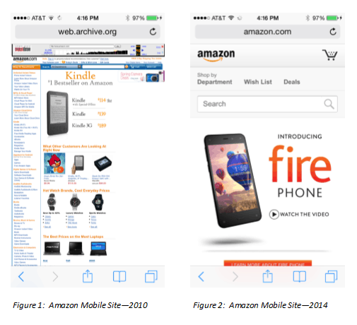 Amazon mobile site comparison 2010 to 2014