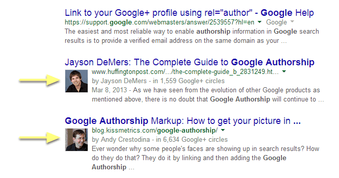 Picture of Google Authorship in search results