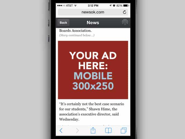 350x250 allowed above the fold on mobile devices