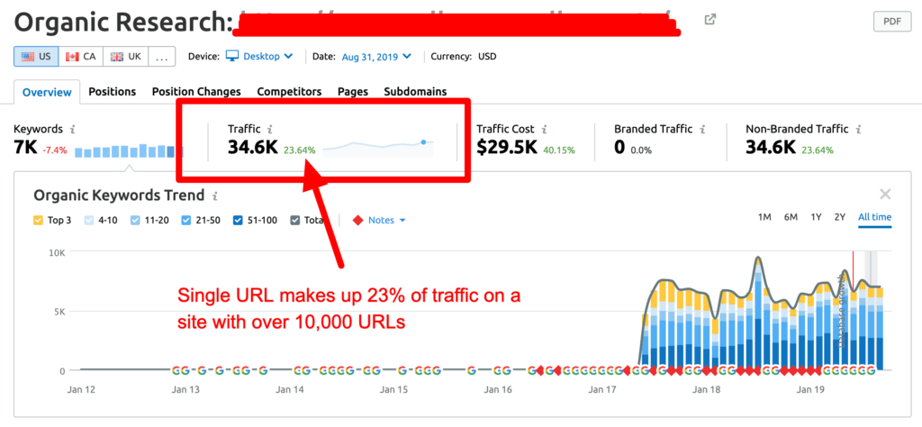niche website url makes up majority of traffic on site