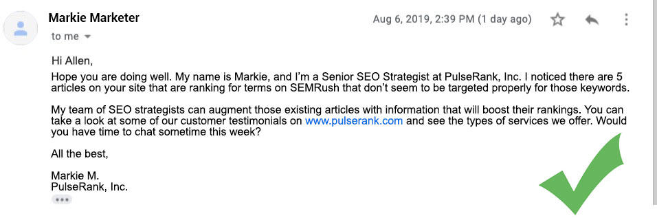 An Example of a Good SEO Consultant email