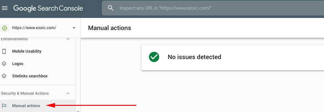 Google Search Console's manual action tab