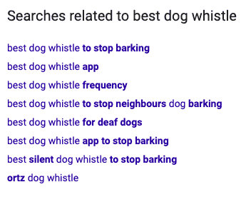 searches related on Google for best dog whistles