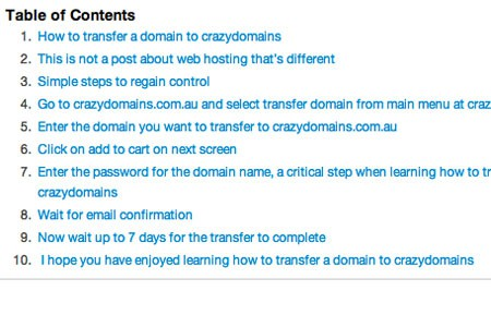 WordPress table of contents example