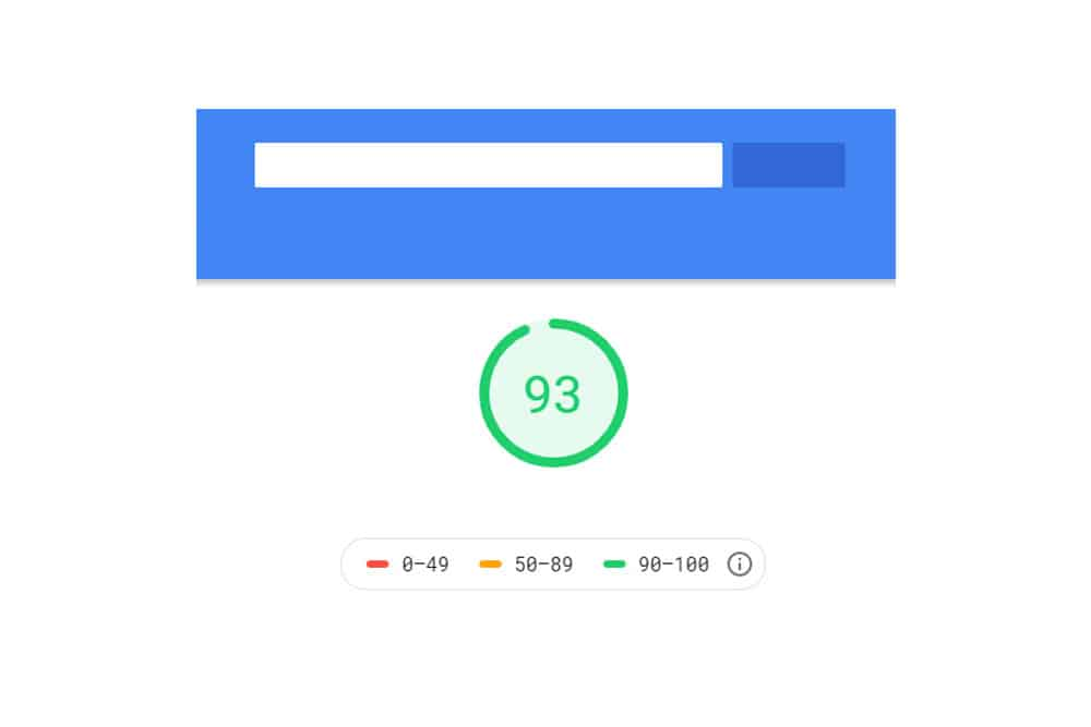 Pagespeed insights score of 80+