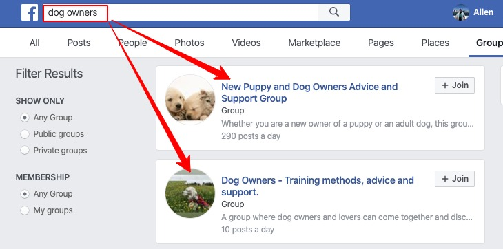 Dog owners facebook groups (helps for niche affiliate website content research)