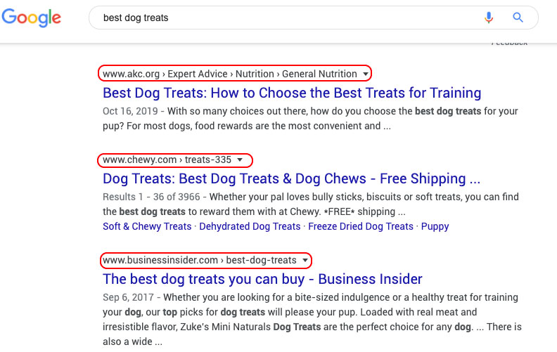 Competitive Google SERP with authority sites in top results