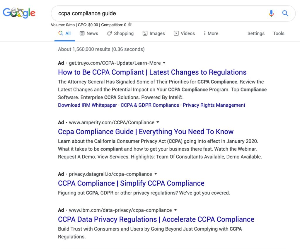 Cluttered SERP with too many ads at the top: These SERPS are not ideal to get Google Featured Snippets