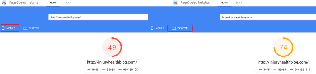 mobile and desktop PageSpeed scores improved by using incognito mode