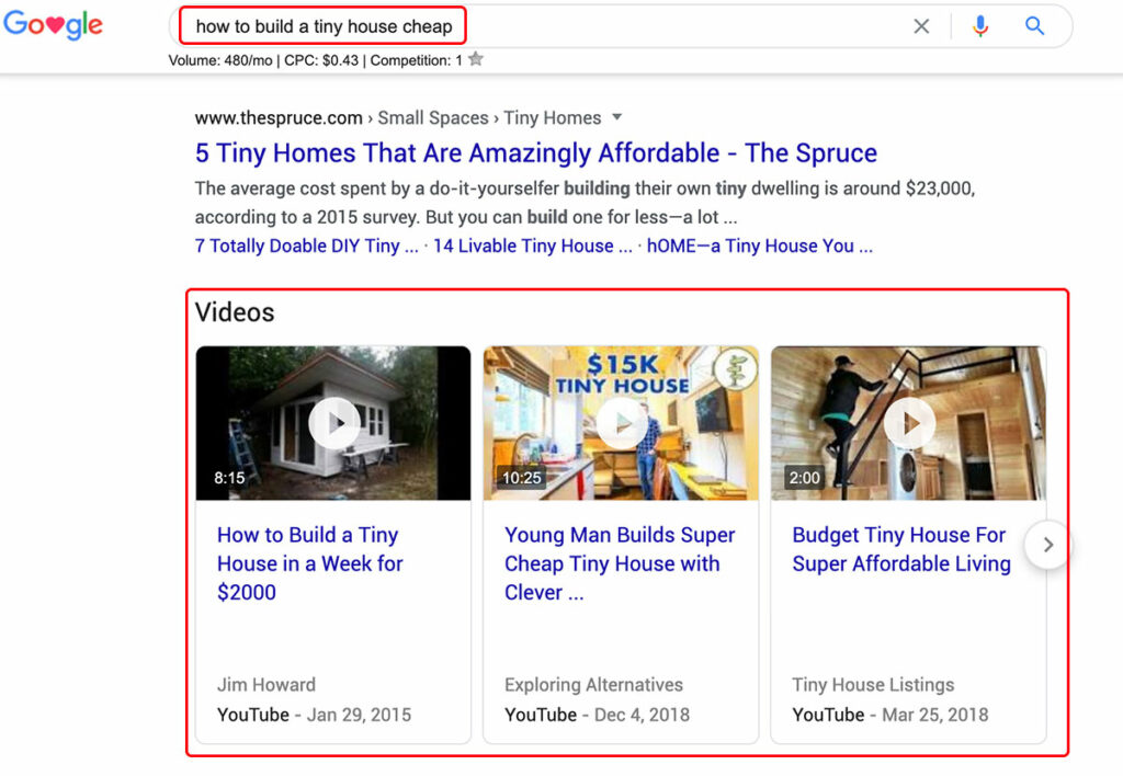 Video results in Google Search