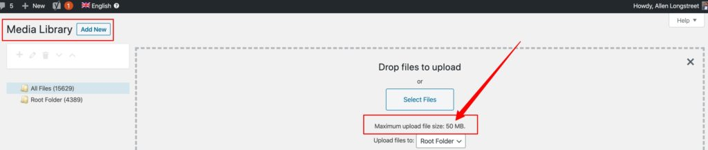 WordPress video hosting upload limit: 50 mbs
