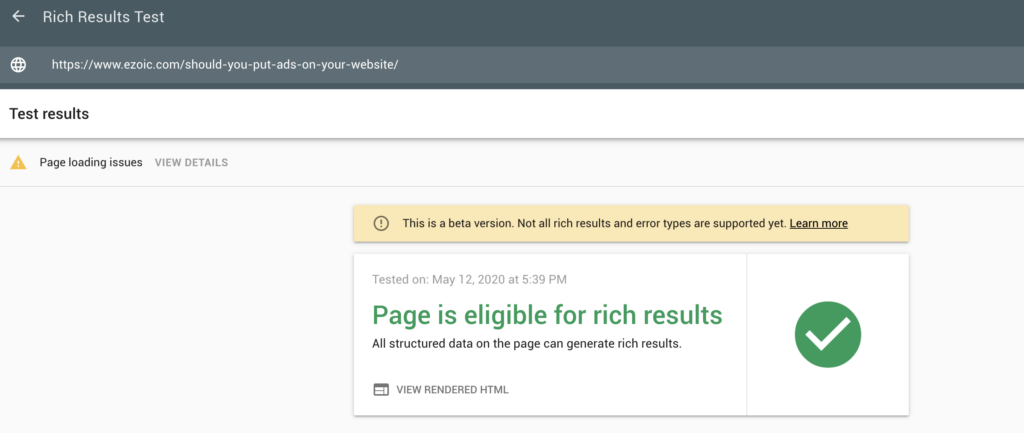 Google rich results test tool