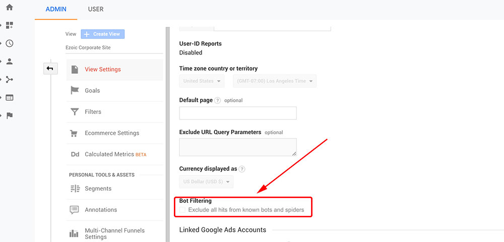 There's a setting in Google Analytics where you can toggle bot traffic filtering