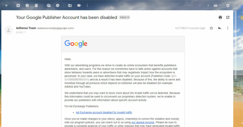 Disabled AdSense due to invalid traffic