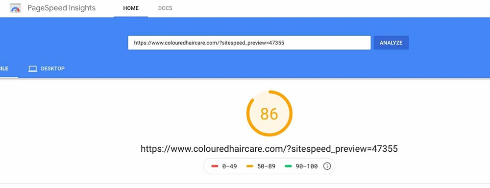 score de 86 sur pagespeed insights mobile de google