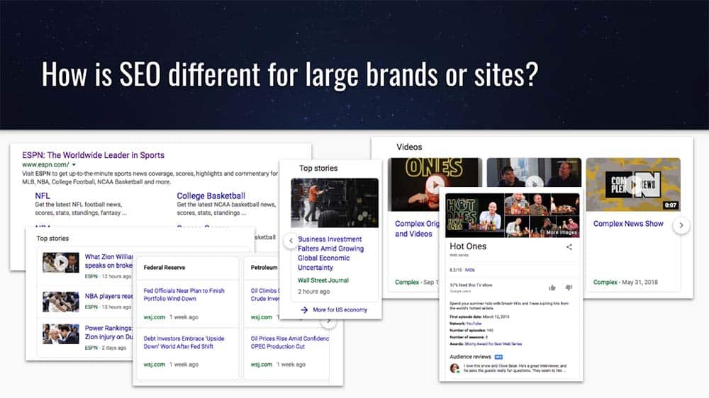 How is SEO different or similar for large brands or sites?