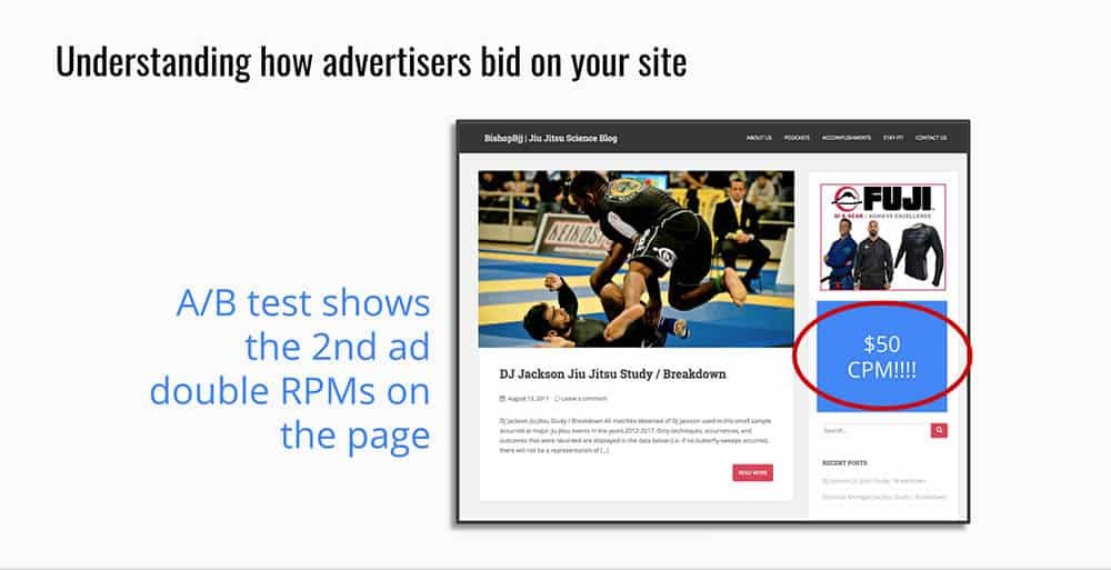 advertisement space on a page on the site