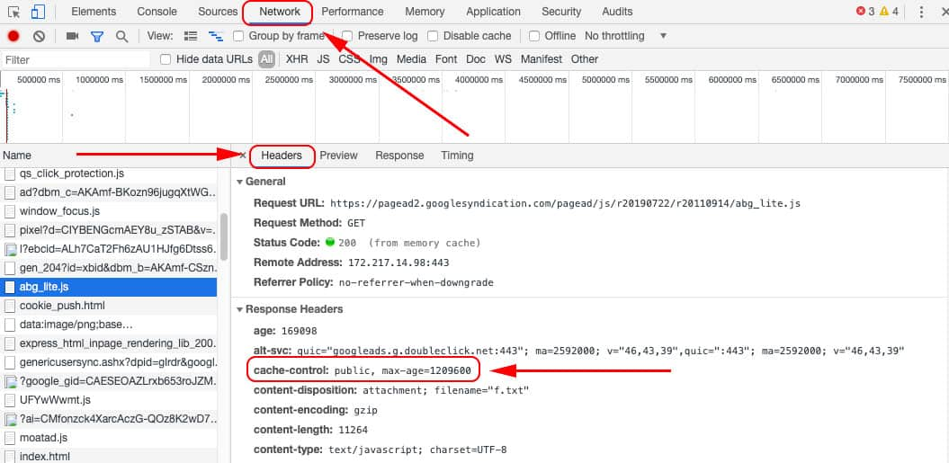 Cache Control tabs (Network, Headers, and then Cache Control)