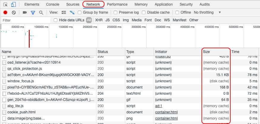 Size column in Chrome DevTools to see if resources are actually being cached