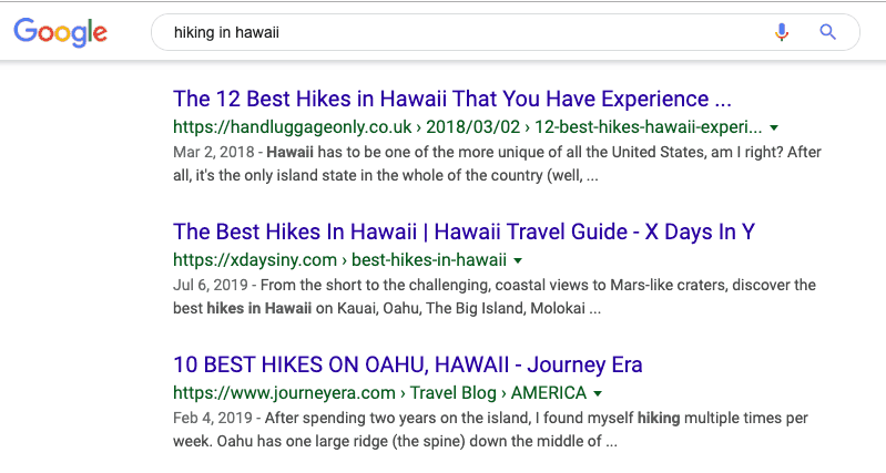 Best hikes in hawaii google search results