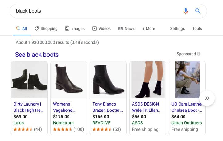 Black Boots on Google Search results