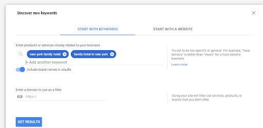 Discovering new keywords using the Google's keyword research tool