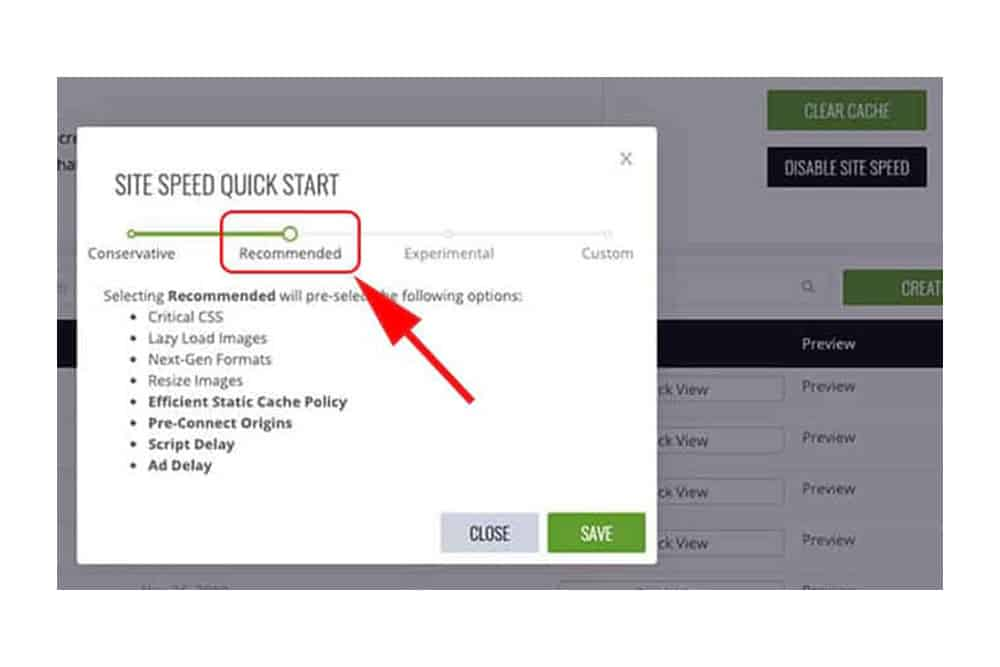 """Choose the """"recommended"""" setting for your site speed version"""