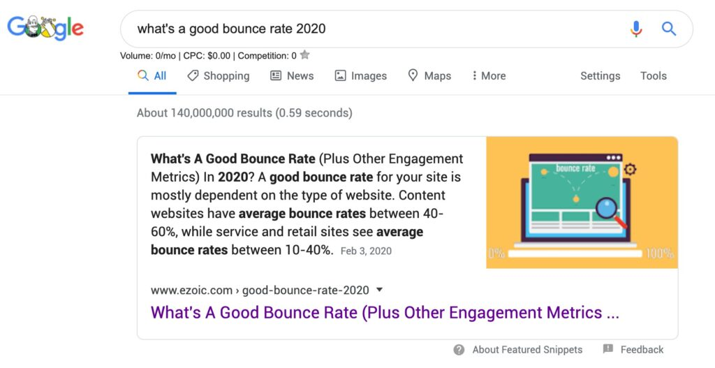 Google Featured Snippet: Ezoic Bounce Rate Article