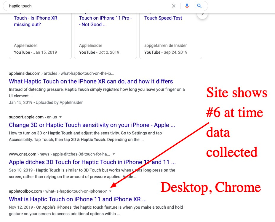 Google SERP had haptic touch article ranked as #5 for one query