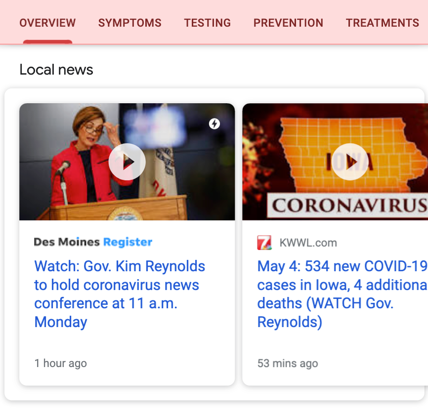 Top stories on Google News including more local news
