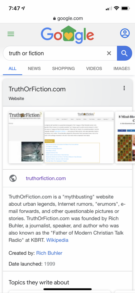 On one mobile query, truth or fiction's website has the knowledge graph.