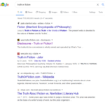 """""""Truth or fiction"""" query pulls up an entry from Stanford that defines """"fiction"""". Does Google really think this is what people are searching for?"""