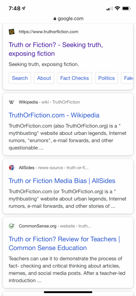 On another query, truthorfiction.com's website does not have the knowledge graph