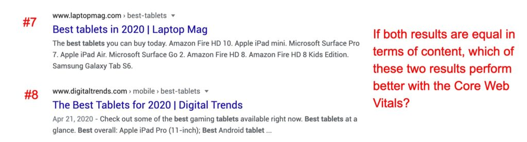 Tiebreaker between results #7 & #8. This is likely a scenario in the future where Google uses the Core Web Vitals