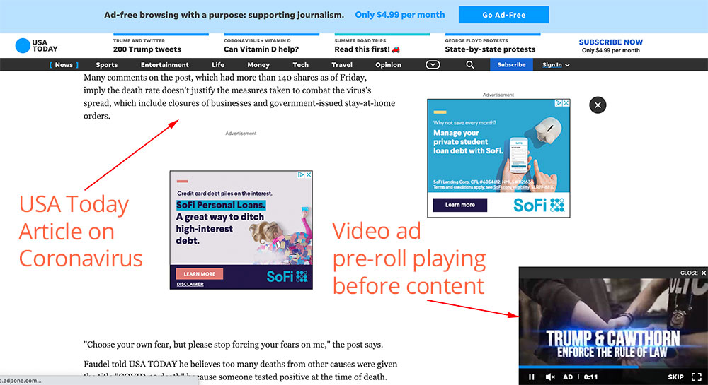 Video ad networks display video ad pre-roll on USA today's website