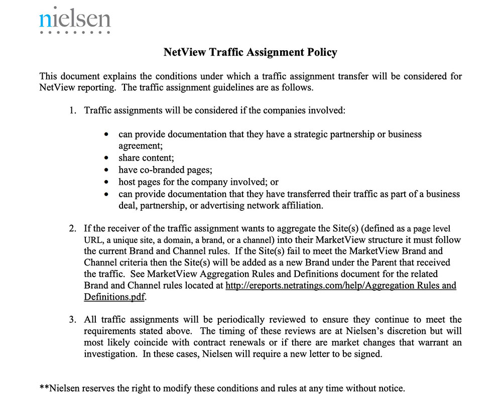 Traffic Assignment Policy Letter