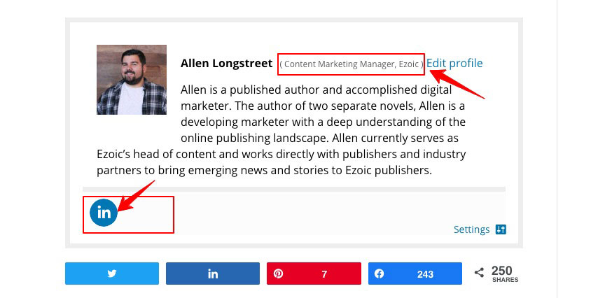 Author bios are important for E-A-T and also Google Discover