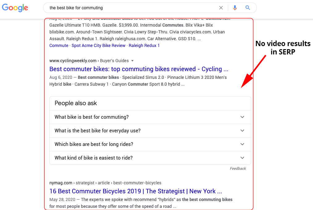 Video Results not in SERP