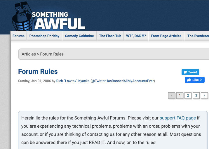 Examples of forum rules